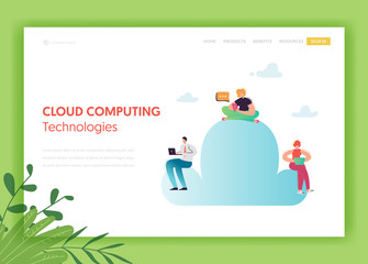 Cloud Data Storage Technologies Landing Page Template. Cloud Computing Concept with People Characters Using Mobile Devices for Website Banner. Vector illustration
