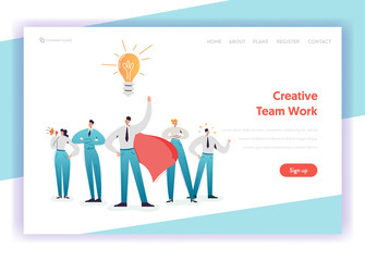Business Team Work Concept Landing Page Template. Teamwork Brainstorming Leadership Characters with Light Bulb for Website Banner. Vector illustration