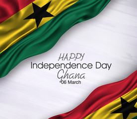 Vector illustration of Happy ghana Waving flags isolated on gray background.06 march.