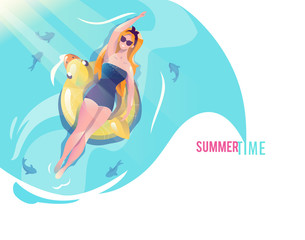 Concept in flat style with woman swimming with circle.