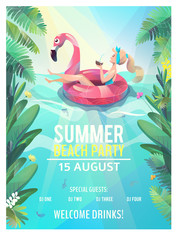 Concept in flat style. Summer beach party poster. Woman floats with circle. Vector illustration.