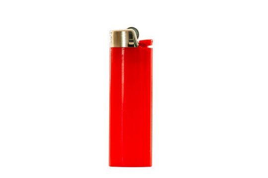 Red lighter isolated on white background, with clipping path. Design element.