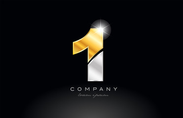 number 1 gold silver grey metal on black background logo