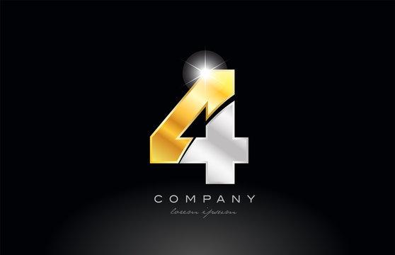 number 4 gold silver grey metal on black background logo