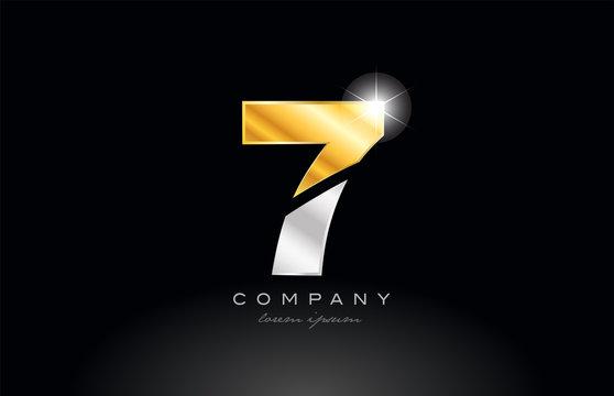 number 7 gold silver grey metal on black background logo