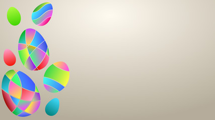 Background with multicolor Easter eggs of colored gradient segments on beige color