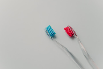 Personal hygiene concept. Realistic blue and red toothbrushes isolated on white wall with empty space for your advertisement
