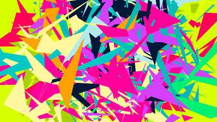 Abstract background with colorful chaotic triangles, polygons.  Vector illustration.
