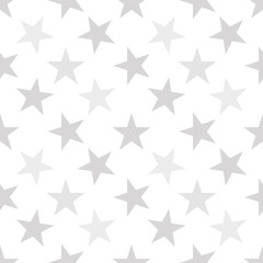Seamless pattern with pastel gray hand drawn stars on white background. Sky background. Cute wrapping paper. Vector illustration.