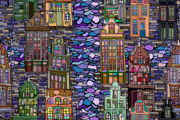 Abstract vector seamless pattern with Dutch fictional vintage houses and canals. Hand drawn stained glass texture.
