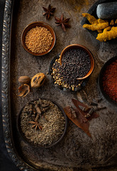 Spices On old vintage tray