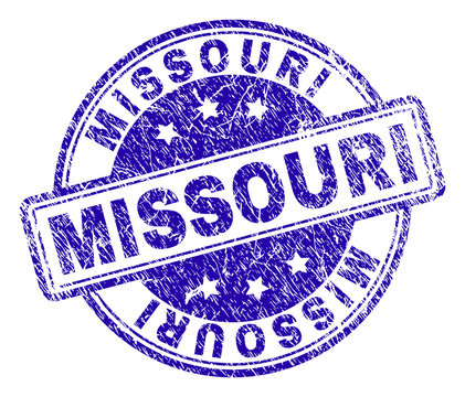 MISSOURI stamp seal watermark with grunge effect. Designed with rounded rectangles and circles. Blue vector rubber print of MISSOURI title with grunge texture.