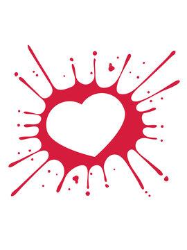liebe herz verliebt form paar valetinstag tropfen klecks farbe spritzer graffiti blut wachs clipart logo design