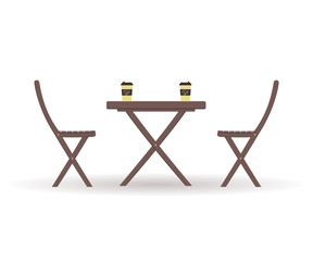 Concept of coffee time: wooden garden furniture or a set of furniture for the balcony: folding table with cardboard pistachio coffee Cups and chairs isolated on a white background. Vector illustration