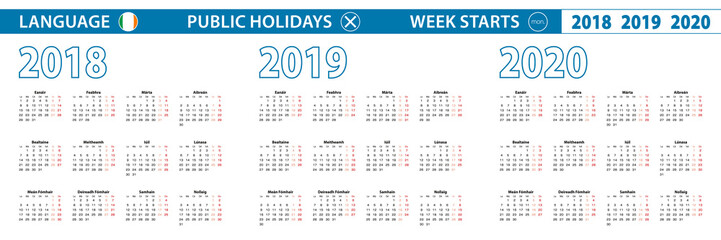 Simple calendar template in Irish for 2018, 2019, 2020 years. Week starts from Monday.