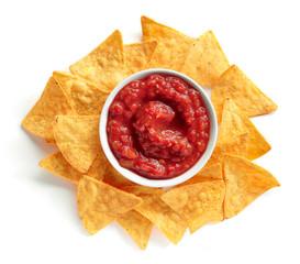corn chips nachos and salsa sauce