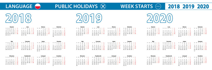 Simple calendar template in Polish for 2018, 2019, 2020 years. Week starts from Monday.