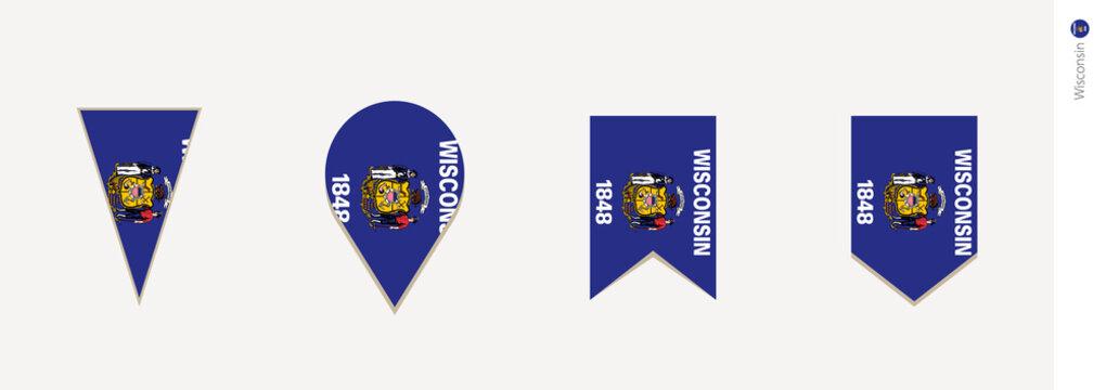 Wisconsin flag in vertical design, vector illustration