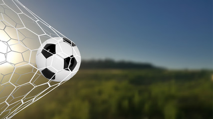 Soccer or Football Banner With 3d Ball on green field background. Soccer game match goal moment with ball in the net. Blurred soccer training field.