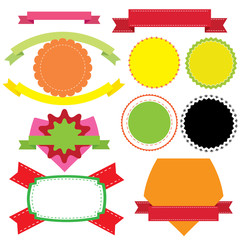 Set of different ribbons, labels or badges templates