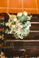 Elegant bridal bouquet with soft tones and very bright.
