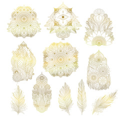 Set of golden boho floral design elements for tattoos, invitations, posters, outline countour, oriental Asian Indian art objects isolated, mandalas, feathers, lotus flower. Vector.
