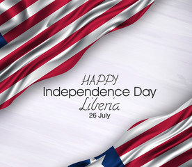 Vector illustration of Happy liberia Waving flags isolated on gray background.,26 july.