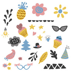 kids elements collection. Set in vector.