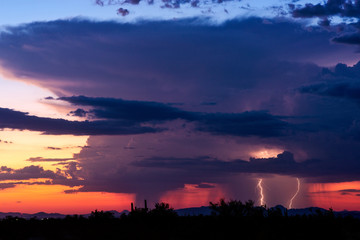 Thunderstorm cloud with lightning