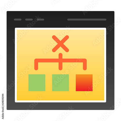 Browser with choice flat icon  Computer decision color icons