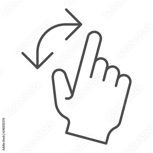 Turning gesture thin line icon  Turn from left to right