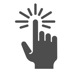 Touch solid icon. Cursor vector illustration isolated on white. Tap gesture glyph style design, designed for web and app. Eps 10.