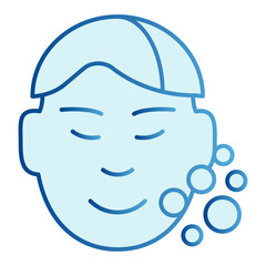Clear man face flat icon. Skin care blue icons in trendy flat style. Open pores gradient style design, designed for web and app. Eps 10.