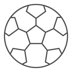 Soccer ball thin line icon. Sport equipment vector illustration isolated on white. Game outline style design, designed for web and app. Eps 10.