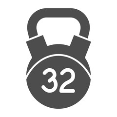 32 kg weight solid icon. Kettlebell vector illustration isolated on white. Dumbbell glyph style design, designed for web and app. Eps 10.