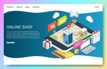 Online shop vector website landing page design template