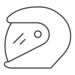 Racing helmet thin line icon. Motorcycle helmet vector illustration isolated on white. Motorbike helmet outline style design, designed for web and app. Eps 10.