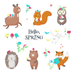 Cute funny spring animals vector isolated illustration