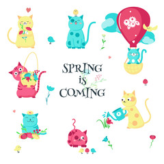 Cute funny spring cats vector isolated illustration