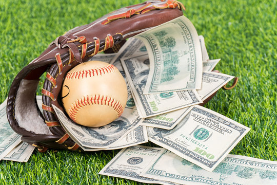 Money with baseball.
