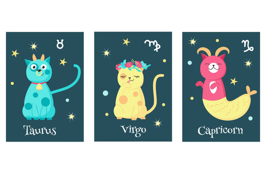 Vector set of cat astrology zodiac sign cards