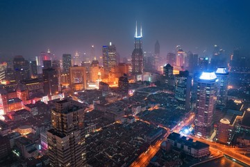 Shanghai aerial night view