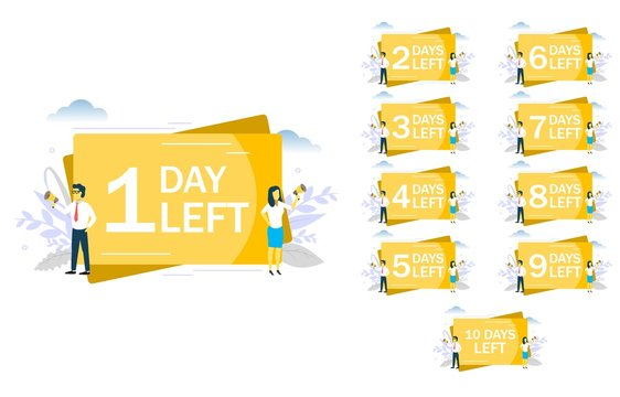1 day left announcement, vector flat style design illustration