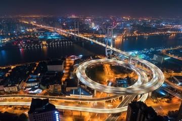 Shanghai Nanpu Bridge over Huangpu River