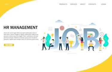 HR management vector website landing page design template