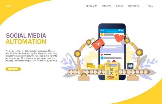 Social media automation vector website landing page design template