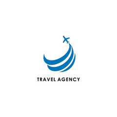 Travel agency vector logo template. Holiday logo template. Airplane travel tourism. around the world icon vector. creative design world travel logo.
