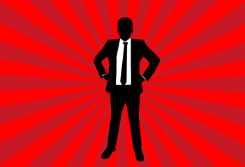 Silouette success businessman on red ray background