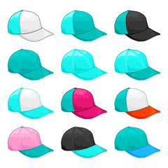 Turquoise cap, Vector Variety of color combinations cap template