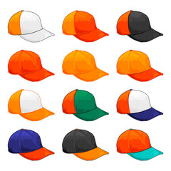 Orange cap, Vector Variety of color combinations cap template